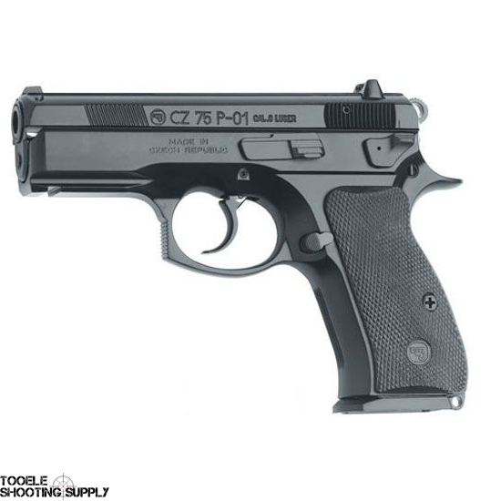 "CZ 75 P-01 Compact 9mm Semi-Auto Pistol, Alloy Frame, Black Polycoat Finish, Decocker, 3.8"" Barrel, 14-Round Mag, CZ 91199"