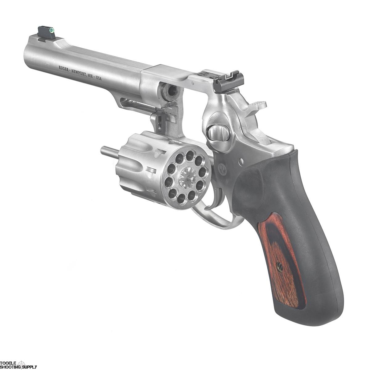 Ruger GP100  22lr Revolver, 10-Round, 5 5 Inch Barrel, Stainless, Rubber/  Hardwood Grips, Ruger 1757