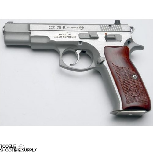 CZ 75B 9mm Pistol, Matte Stainless, Cocobolo Wood Grips, Night Sights,  16-Round Mags- CZ 91125