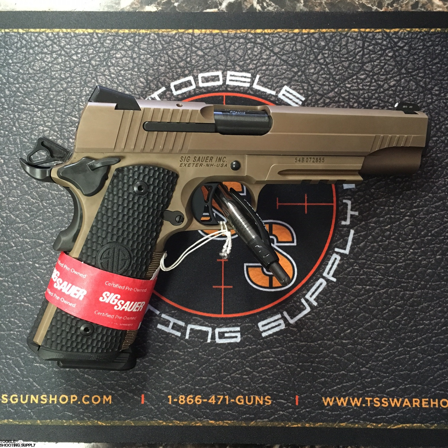 Sig Sauer 1911 Emperor Scorpion 45 ACP Semi-Auto Pistol, C P O  (Certified  Pre-Owned), Custom FDE Frame, Piranha G-10 Grips - Sig Sauer UD19GSR-45-B